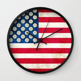 Grunge American Flag and 45 ACP Case Heads Wall Clock