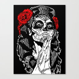 Girl With Sugar Skull, Day of the Dead Canvas Print