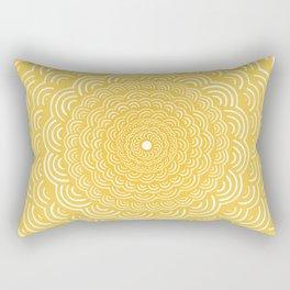 Spiral Mandala (Yellow Golden) Curve Round Rainbow Pattern Unique Minimalistic Vintage Zentangle Rectangular Pillow