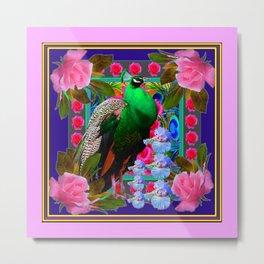 INDIGO PURPLE & PINK ROSES GREEN PEACOCK FLORAL Metal Print
