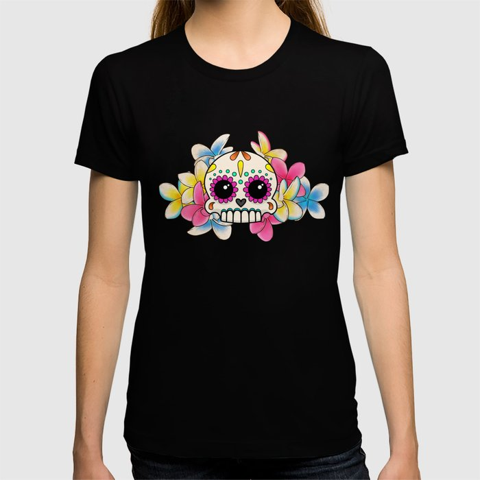 Calavera con Flores - Sugar Skull with Frangipani Flowers T-shirt