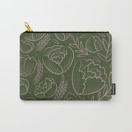 Green Floral Pattern Carry-All Pouch