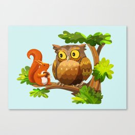 The Owl and The Squirrel Canvas Print