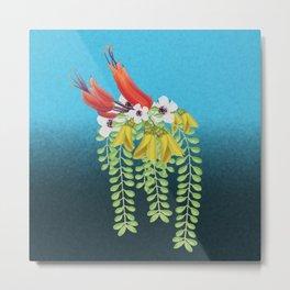 Flax, Kowhai and Manuka Flowers Metal Print