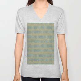Tranquil Blue on Earthy Green Parable to 2020 Color of the Year Back to Nature Grunge Vertical Dash Unisex V-Neck