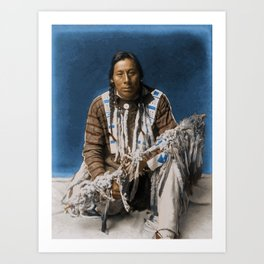 A medicine pipe - Blackfoot - American Indian Art Print
