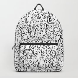 Elio's Shirt Faces in Black Outlines on White Backpack