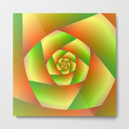 Spiral in Yellow Orange and Green Metal Print