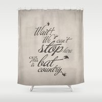fear and loathing Shower Curtains featuring Fear and Loathing in Las Vegas by Caz Lock Draws