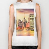 new york city Biker Tanks featuring New York City Skyline by Vivienne Gucwa