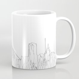 Dublin, Ireland Skyline B&W - Thin Line Coffee Mug