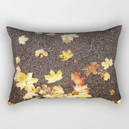 Gold yellow maple leaves autumn asphalt road Rectangular Pillow