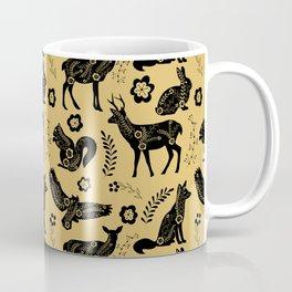 Folk Art Forest Animals, Mustard Coffee Mug