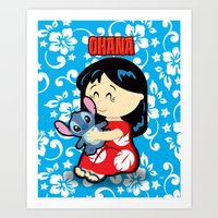lilo and stitch Art Prints featuring Ohana Lilo and Stitch by Jasmine Victoria