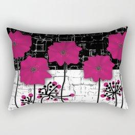 Crimson flowers on black and white background. Rectangular Pillow