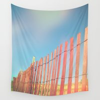 rothko Wall Tapestries featuring Beach Fence by Olivia Joy StClaire