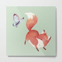 Fox & Butterfly Metal Print