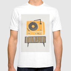 Vinyl Deck Mens Fitted Tee White LARGE