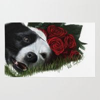border collie Area & Throw Rugs featuring Collie(Flowers) by Mel Hampson
