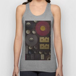 Music. Vintage wall with vinyl records and audio cassettes hung. Unisex Tank Top
