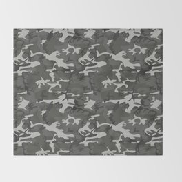 Gray, Black and Green Camo Pattern Throw Blanket