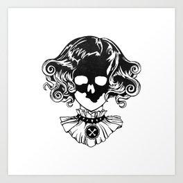 Skull Maiden - Blk Art Print