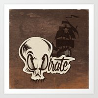 pirate Art Prints featuring Pirate by Tony Vazquez