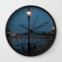 Basel at night Wall Clock
