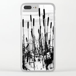 Winter Cattails Clear iPhone Case