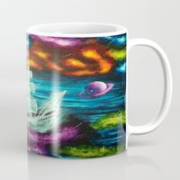 spaceship Mugs featuring Spaceship by Kaila Hernandez