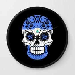Sugar Skull with Roses and Flag of Nicaragua Wall Clock