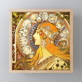 La Plume Zodiac - Alphonse Mucha Framed Mini Art Print