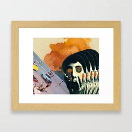 Boy with Fiery Eyes Collage Framed Art Print