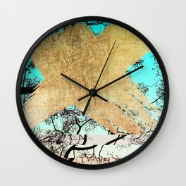 Modern tree sky blue gold brushstroke photography glitch Wall Clock
