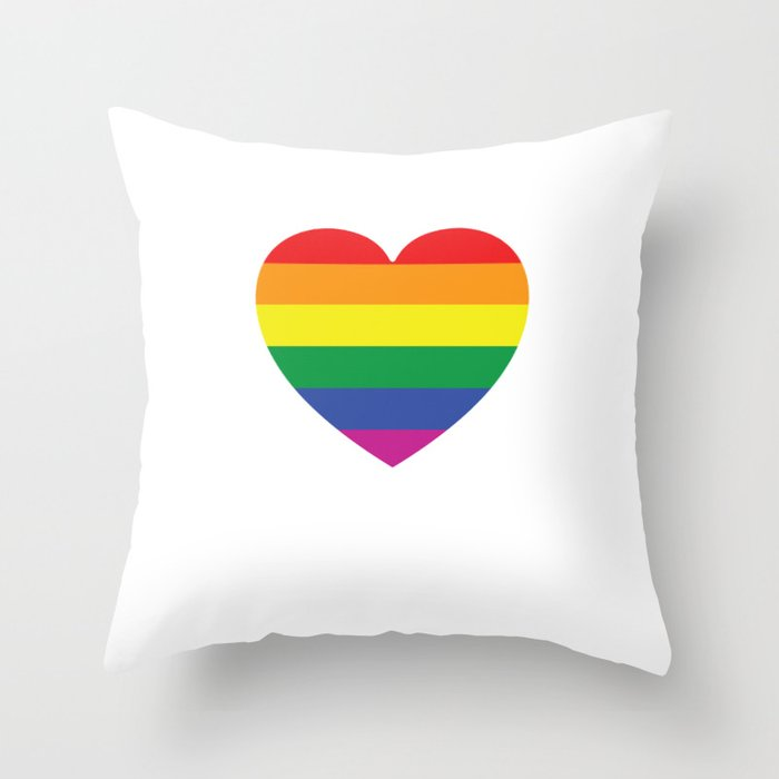 Gay Pride Lgvt Rainbow Heart Throw Pillow By Ilovetshirts Society6