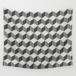 3d retro cubes in grey skies Wall Tapestry