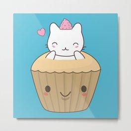 Kawaii Cute Cat Cupcake Metal Print