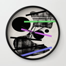 PENSIVE - Eclectic blend of geometric shapes, pastel colours, and black and white textures Wall Clock
