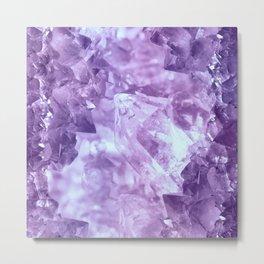 Bright purple quartz crystal cluster Metal Print
