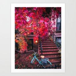 New York City Brooklyn Bicycle and Autumn Foliage Art Print