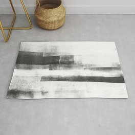 """Black and White Minimalist Geometric Abstract Painting """"Structure 3"""" Rug"""