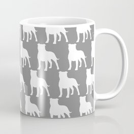 White Staffordshire Bull Terrier Silhouette Coffee Mug