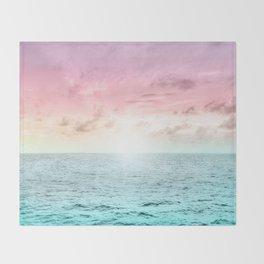 Pastel Beach Sunset Throw Blanket
