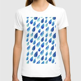 watercolor rain drops, seamless background with stylized blue raindrops T-shirt