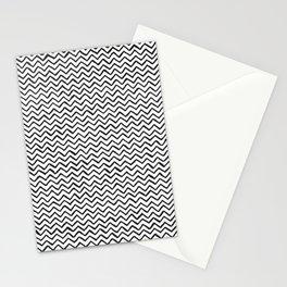 Black & White Hand Drawn ZigZag Pattern Stationery Cards