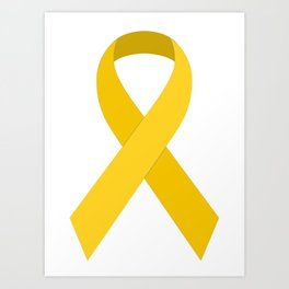 Yellow Awareness Support Ribbon Art Print