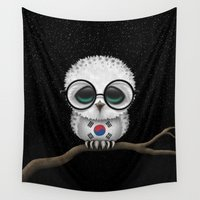 korean Wall Tapestries featuring Baby Owl with Glasses and South Korean Flag by Jeff Bartels