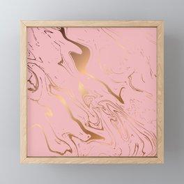 Liquid marble texture design, pink and gold Framed Mini Art Print