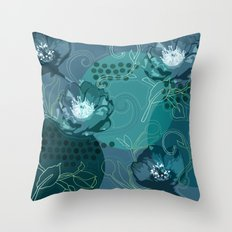 Hellabore line pattern, blue Throw Pillow