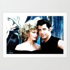 Sandy and Danny from Grease - Painting Style Art Print